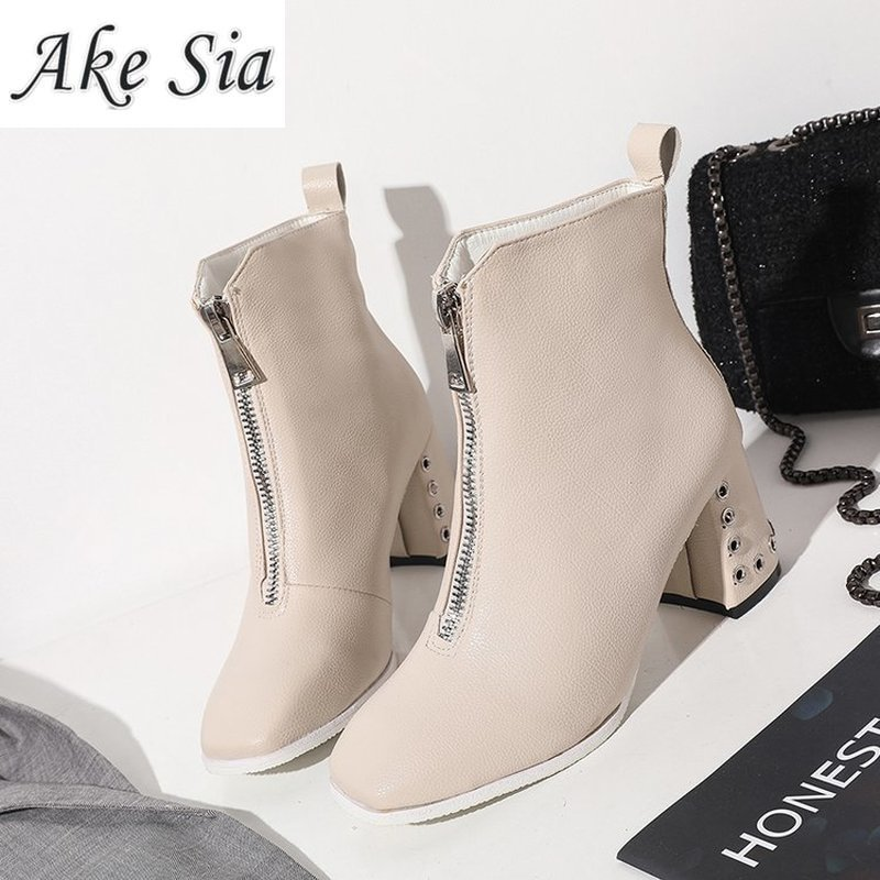 Fashion Soft Leather Ankle Boots for Women 2019 New Spring Autumn Front Zipper Thick High Heels Women Boots Black Beige