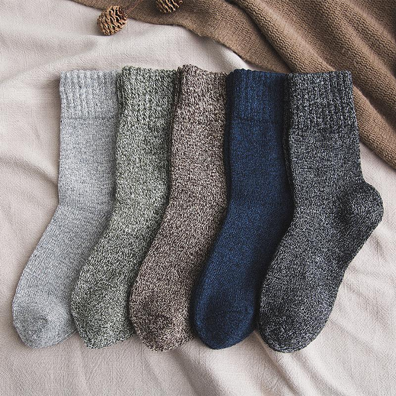 5Pairs/lot New Witner Men Socks Thick Warm Wool Socks Vintage Christmas Socks Colorful Socks Gift Free Size YM9009