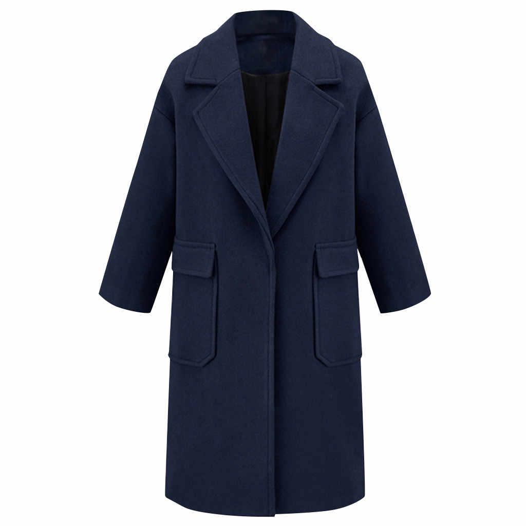 Casaco de inverno Mulheres Lã Casaco de Inverno Lapela Casaco de Trincheira Longo Outwear Casaco de Mistura de Lã Das Mulheres Casaco de Moda Feminina Longo Casaco