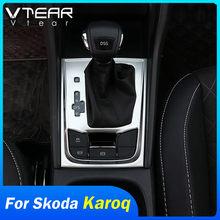 Vdéchirure – autocollant pour boîte de changement de vitesse Skoda Karoq, couvercle du panneau de commande central, garniture de bande, accessoires de style de voiture intérieur 19