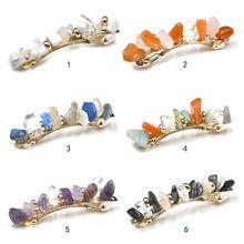 Корейский винтажный контрастный цвет имитация камня пружинный зажим для волос женский конский хвост держатель стильный зажим элегантный геометрический зажим для волос