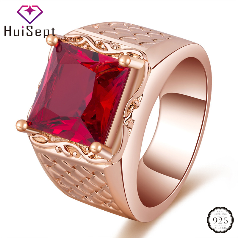 HuiSept Classic 925 Silver Jewelry Ring Square Shape Ruby Zircon Gemstone Ring for Man Women Lover Wedding Engagement Party Gift