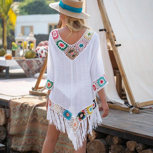 White Bikini Cover Up With Fringe Trim Women Sexy Hollow Tunic Beach Dress 2021 Summer Bathing Suit Beachwear 2