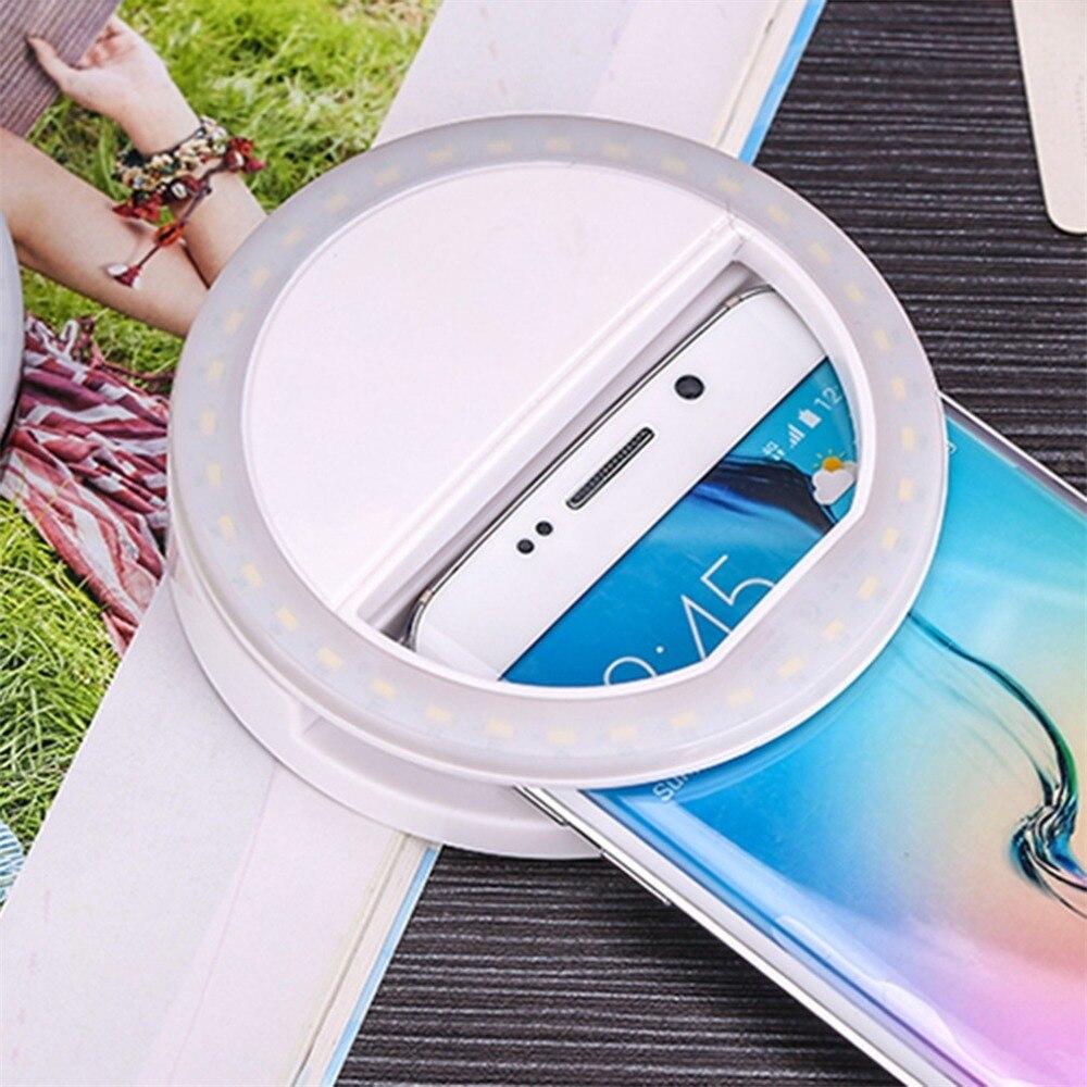 H74f75c7ae96e4514b5d167f8ae537921S - Universal Selfie LED Flash Ring Light Portable Lamp Mobile Phone Lens For iPhone Xiaomi mi9t Samsung S10 S9 Luminous Ring Clip