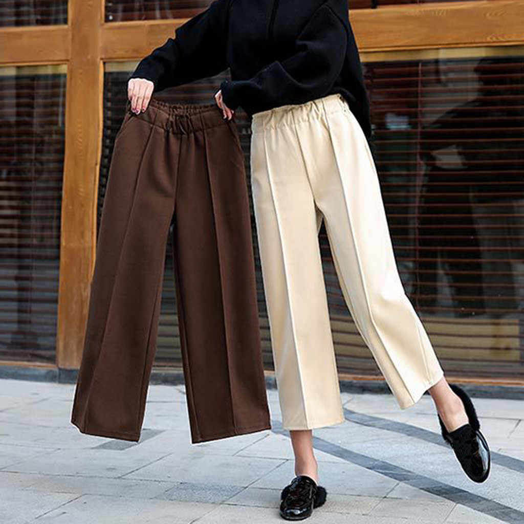Womens Autumn And Winter Loose High Waist Straight Thick Casual Wide Leg Pants