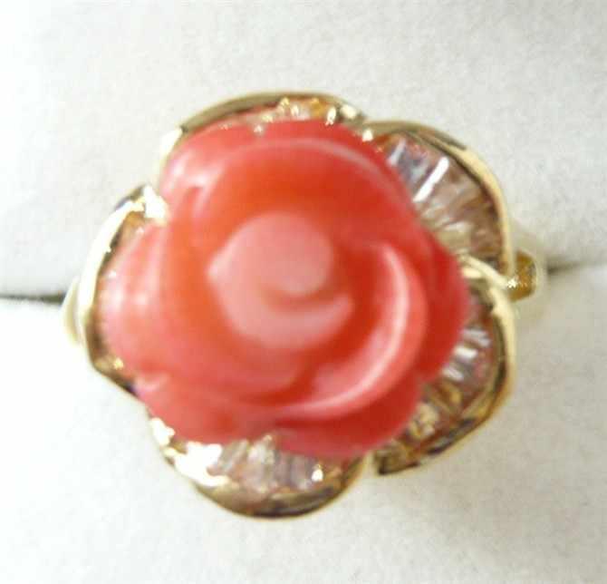 ขายส่งแฟชั่น hand made สีชมพูดอกไม้แหวนหยก (#7.8.9) 5.29