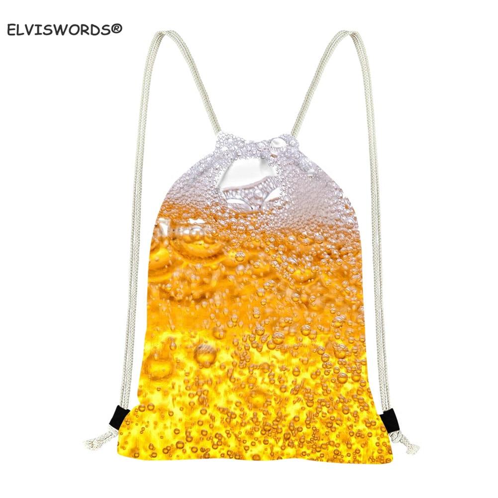 ELVISWORDS Funny Beer Pattern Drawstring Gym Bags  Boys Small Beach String Shoulder Bag Satche Football Storage Backpack Teenage