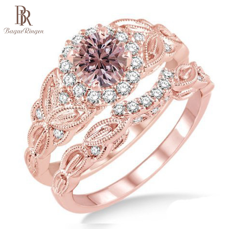 Bague Ringen S925 Sterling Silver Ring With 4MM Round Shape Rose Quartz Gemstone Rose Gold Color Silver Jewelry for Women Gift