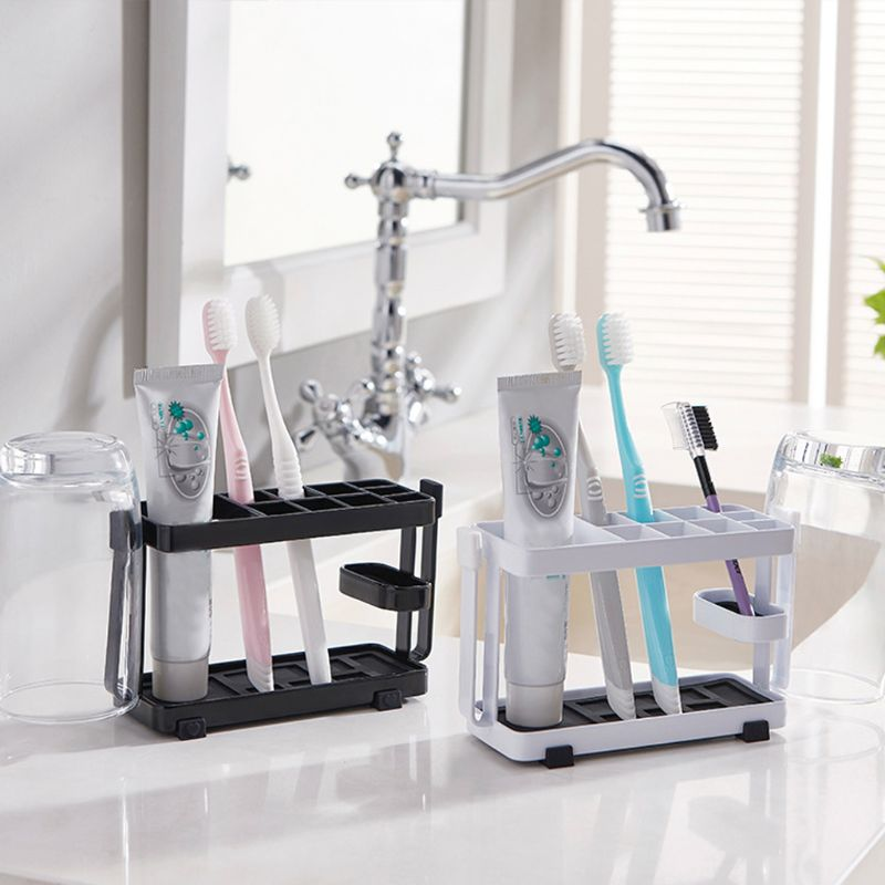 Family Toothbrush Stand Holder Bathroom Toiletries Storage Rack Washroom Toothpaste Cup Large Organizer Home Accessories image