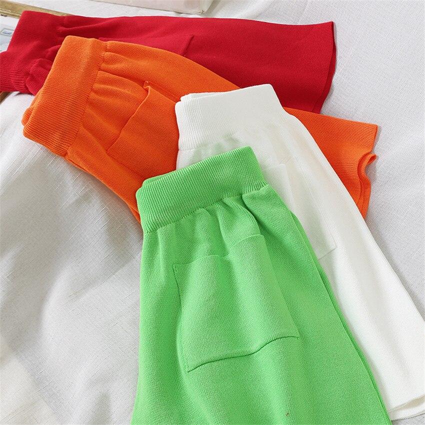 Candy Color Korean Fashion Spring Summer Shorts Women High Waist Wide Leg Knit Short Casual Sport Wear