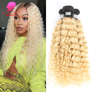 QUEEN 1/3/4 Bundle 1B 613 Ombre Blonde Platinum Color Two Tone Dark Roots Malaysian Deep Wave Bundle Remy Human Hair Extensions(China)