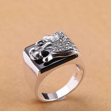 Мужские Винтажные кольца из стерлингового серебра с натуральным