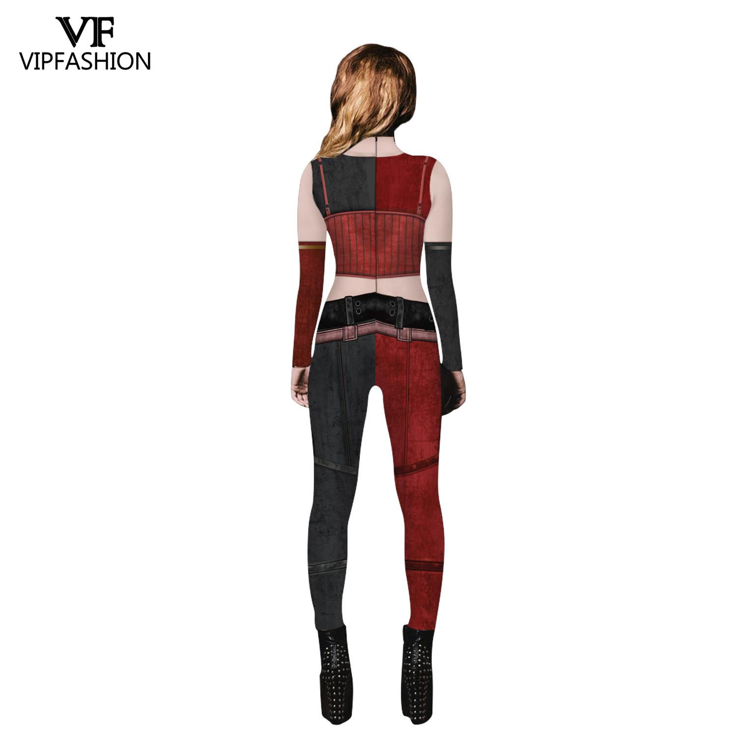 VIP FASHION New Movie Suicide Squad Harley Quinn Cosplay Printed Lycra Zentai Joker Fancy Jumpsuit Halloween Costumes For Women in Holidays Costumes from Novelty Special Use