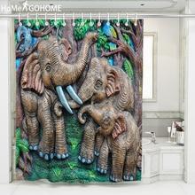 цена на 3D Embossed Elephant Shower Curtain Bathroom Bathtub African Shower Curtain Waterproof Fabric Bath Curtain cortina de ducha New
