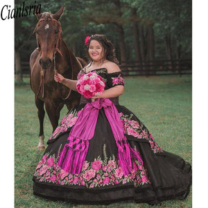 Image 4 - Printed Floral Lace Black Sweet 16 Dresses Off Shoulder Short Sleeves Sashes Open Back Quinceanera Dress Ball Gowns Prom Fashion