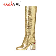 HARAVAL Mode Vrouw Winter Volwassen Knie-hoge Laarzen Hoge Kwaliteit Luxe Lederen Sexy Spitse Neus Hoge Vierkante Hak Schoenen slip-on Golden Solid Casual Warme Zachte Handgemaakte Elegante Basic Lady Party Queen Klassieke Lange Laarzen(China)