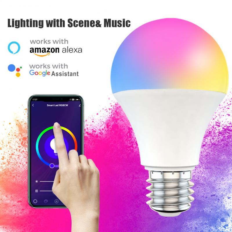 Умсветильник Светодиодная лампа B22 E27 с Wi-Fi, приглушаемая лампа с управлением через приложение, работает с Alexa Google Home