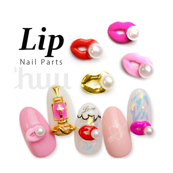Manicure Diamond Japanese-style Sexy Lips Nail Ornament Bright Red Pink Mouth DIY Nail Sticker Pearl