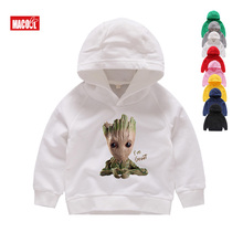 2019 Children New Casual White Hoodies Clothes for Baby Groot Print Hoodies Boy Girls Hoodies Kids Hoodies & Sweatshirts 2T-8T hoodies trespass hoodies