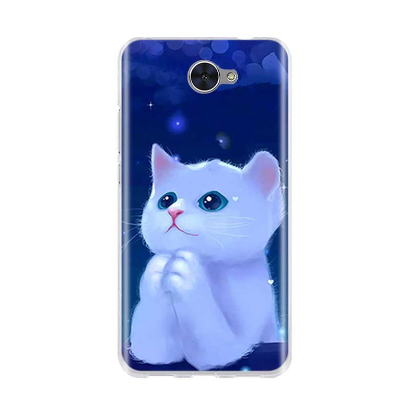 Voor Huawei Y7/Y3 2017/Y5 2017/Y6 2017 Case 3D Leuke Kat Tassen Zachte Siliconen TPU back Cover Voor Huawei Y7 Y 7/Y3 2017 Gevallen