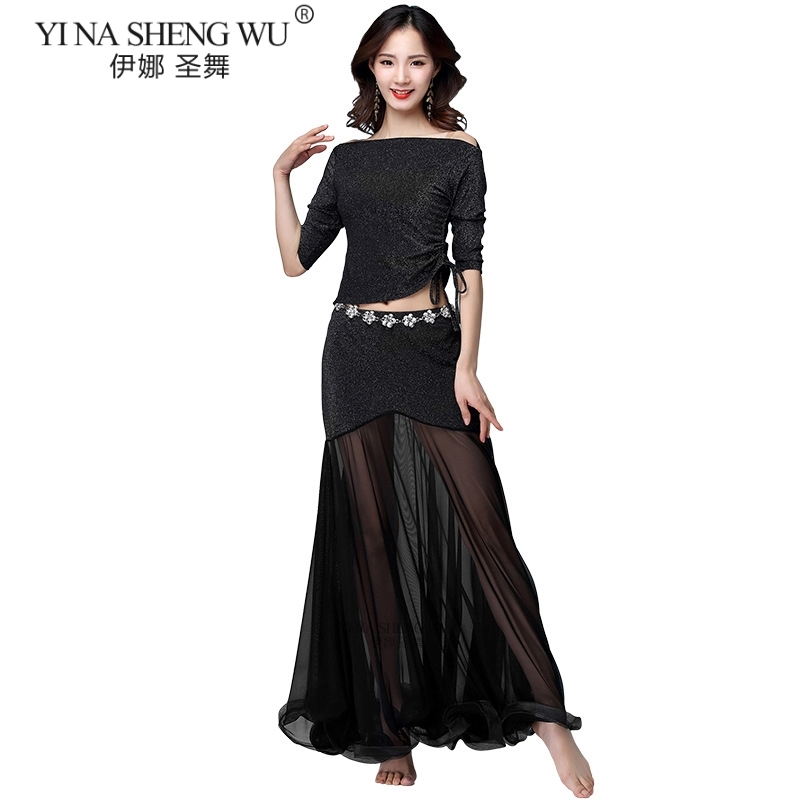 New Female Belly Clothing For Belly Dancing Sexy V-neck Of The Top Or Long Skirt Dancer Practice 5 Color