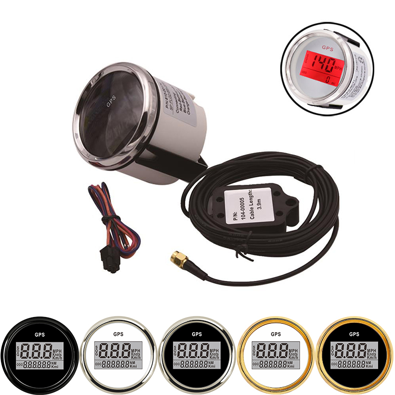 52 Mm Gps Snelheidsmeter Kilometerteller 9-32V Auto Gauge Gps Antenne Lcd Boot Auto Waterdichte Digitale Mph voor Auto Boot Met Backlight