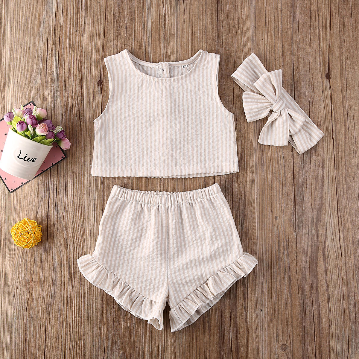 Emmababy Newborn Baby Girl Clothes Sleeveless Striped Crop Vest Tops Ruffle Short Pants Headband 3Pcs Outfits Cotton Clothes