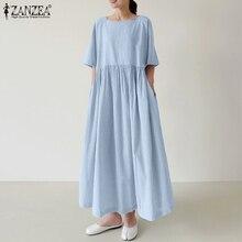 Striped Dress Neck-Robe Short-Sleeve Maxi Square ZANZEA Plus-Size Women's Summer Vestidos