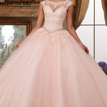 Quinceanera Jurken Tulle Cut-Out Back Baljurken Kant Mouwloze Dubai Saudi Arabische Applicaties Kralen Crystal Formele Gelegenheid
