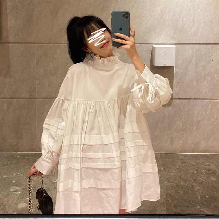 SuperAen الحلو نفخة كم فستان نسائي جديد 2019 الخريف القطن فستان السيدات عادية كم طويل موضة ملابس النساء