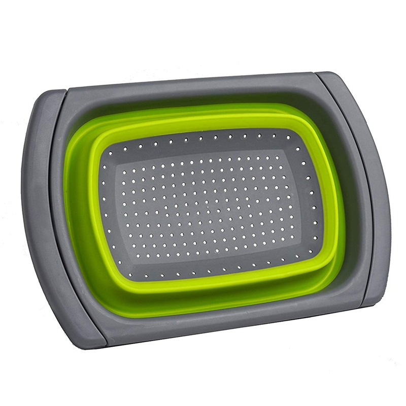 Collapsible Over The Sink Colander / Strainer, Green
