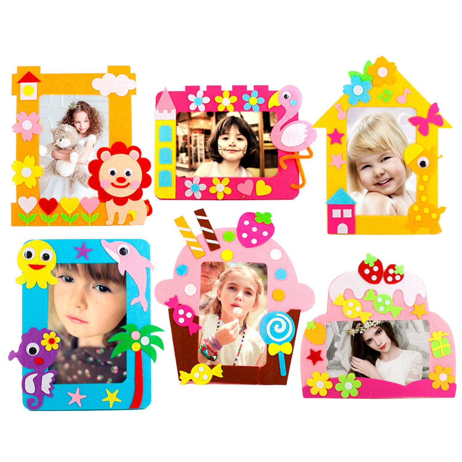 6pcs Kids Cartoon DIY Non-woven Photo Frame 3D Handmade Cloth Felt Applique Sticker Picture Frame Material Package Craft Toy