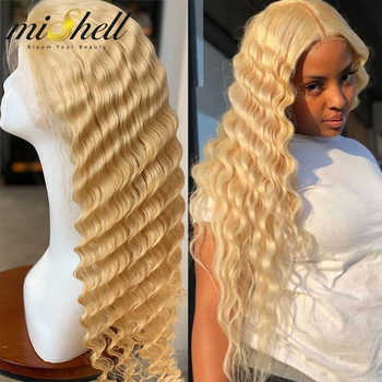 Mishell 13x4 13x6 T Part 613 Honey Blonde Brazilian Wig Deep Water Wave Lace Front Human Hair Wigs Kinky Curly HD Transparent image
