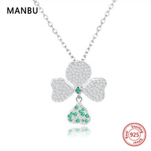 Female Elegant four-leaf clover 925 Sterling silver chain Necklace Pendants Charm Chain Necklaces for Women Jewelry Dropshipping