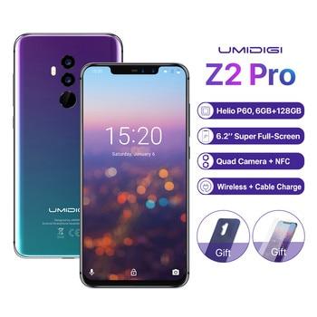 Перейти на Алиэкспресс и купить Оригинальный смартфон UMIDIGI Z2 Pro 6 ГБ 128 ГБ 6,2 дюйма Helio P60 Android 8,1 4G LTE NFC Беспроводная зарядка четыре камеры мобильный телефон