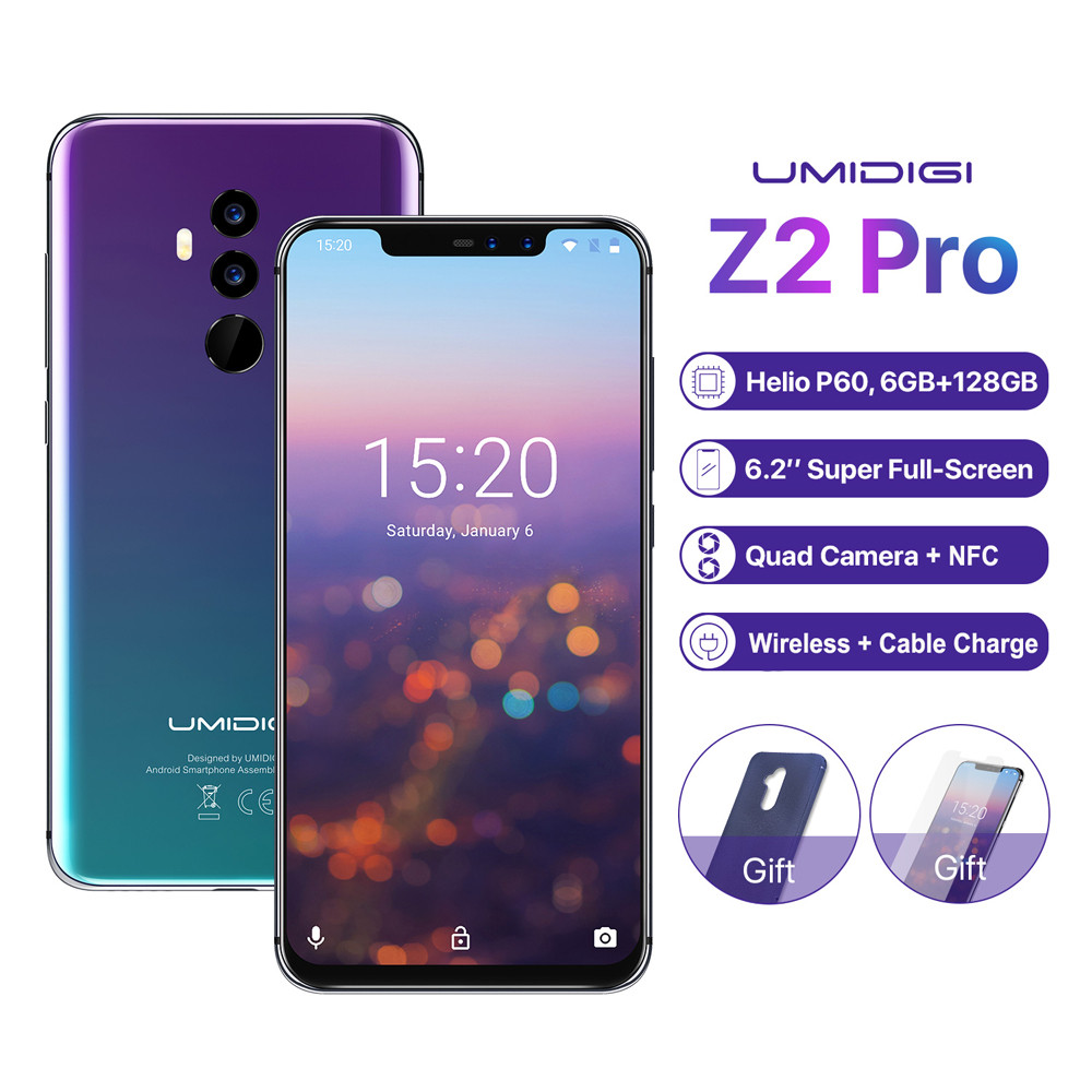 "Original UMIDIGI Z2 Pro 6GB 128GB Smartphone 6.2"" Helio P60 Android 8.1 4G LTE NFC Wireless Charge Four Cameras Mobile Phone"