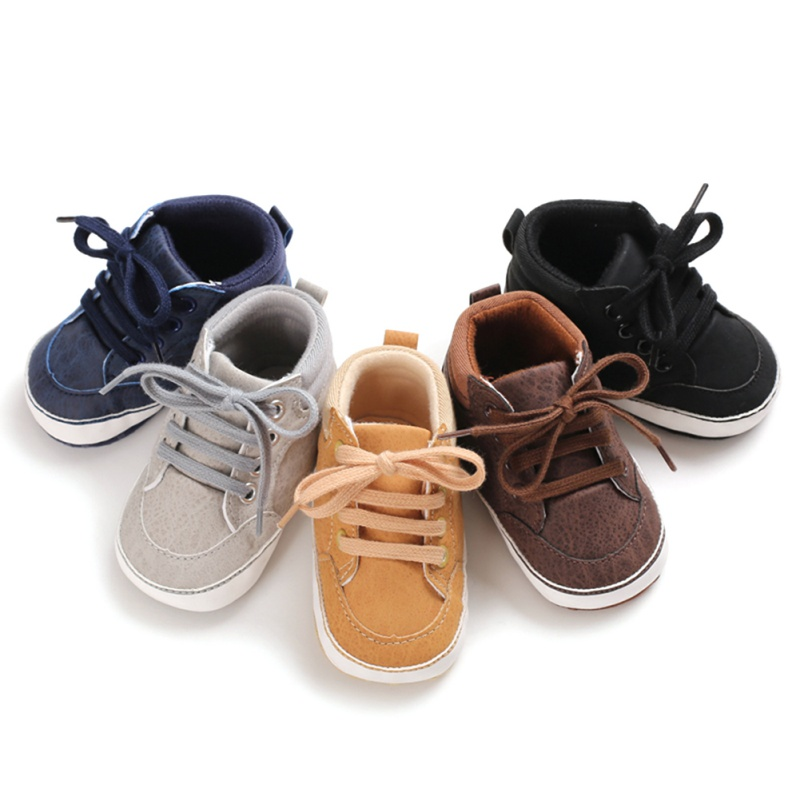 blue, gray, tan, brown, and black lace baby and toddler first walker shoes
