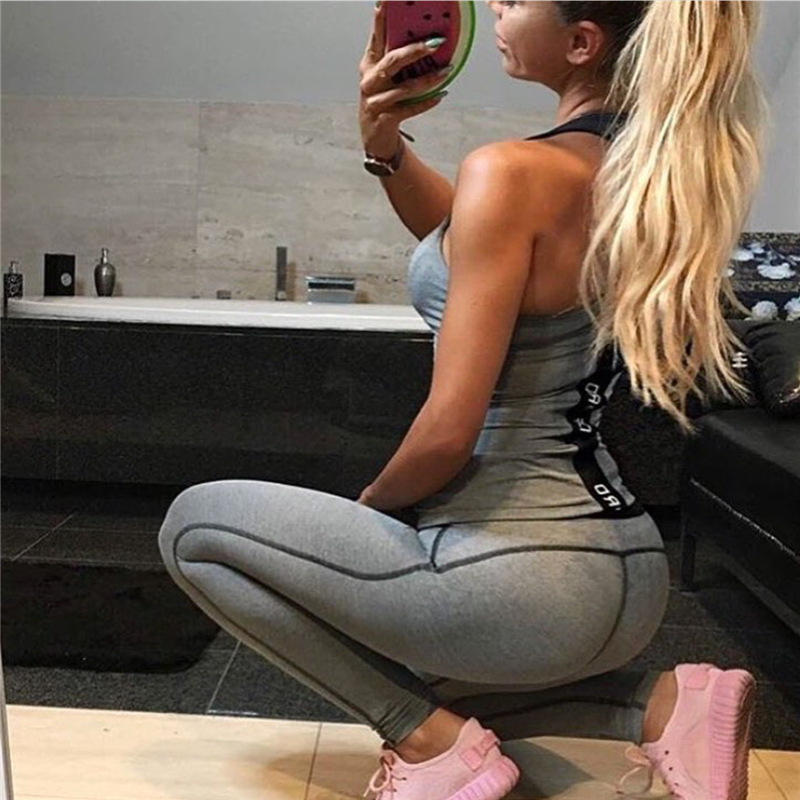 2017 European And American-Style Hot Hot Selling English Lettered Webbing Panel Yoga Clothes Fitness Sports Suit Women's