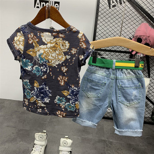 Image 5 - 2PCS WLG בני קיץ בגדי סט ילדים פרחוני מודפס חולצה וג ינס ripped קצר סט ילדי בגדים