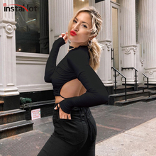 InstaHot Black White Lace Up Backless Sexy T-shirt Long Sleeve Women Cropped Tops Round Neck Streetwear t Shirts Summer Autumn
