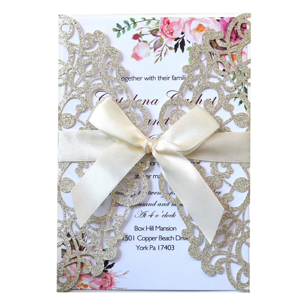100pcs Glitter Laser Cut Wedding Invitation Cards with Ribbon and Envelopes for Engagement Bridal Shower Birthday