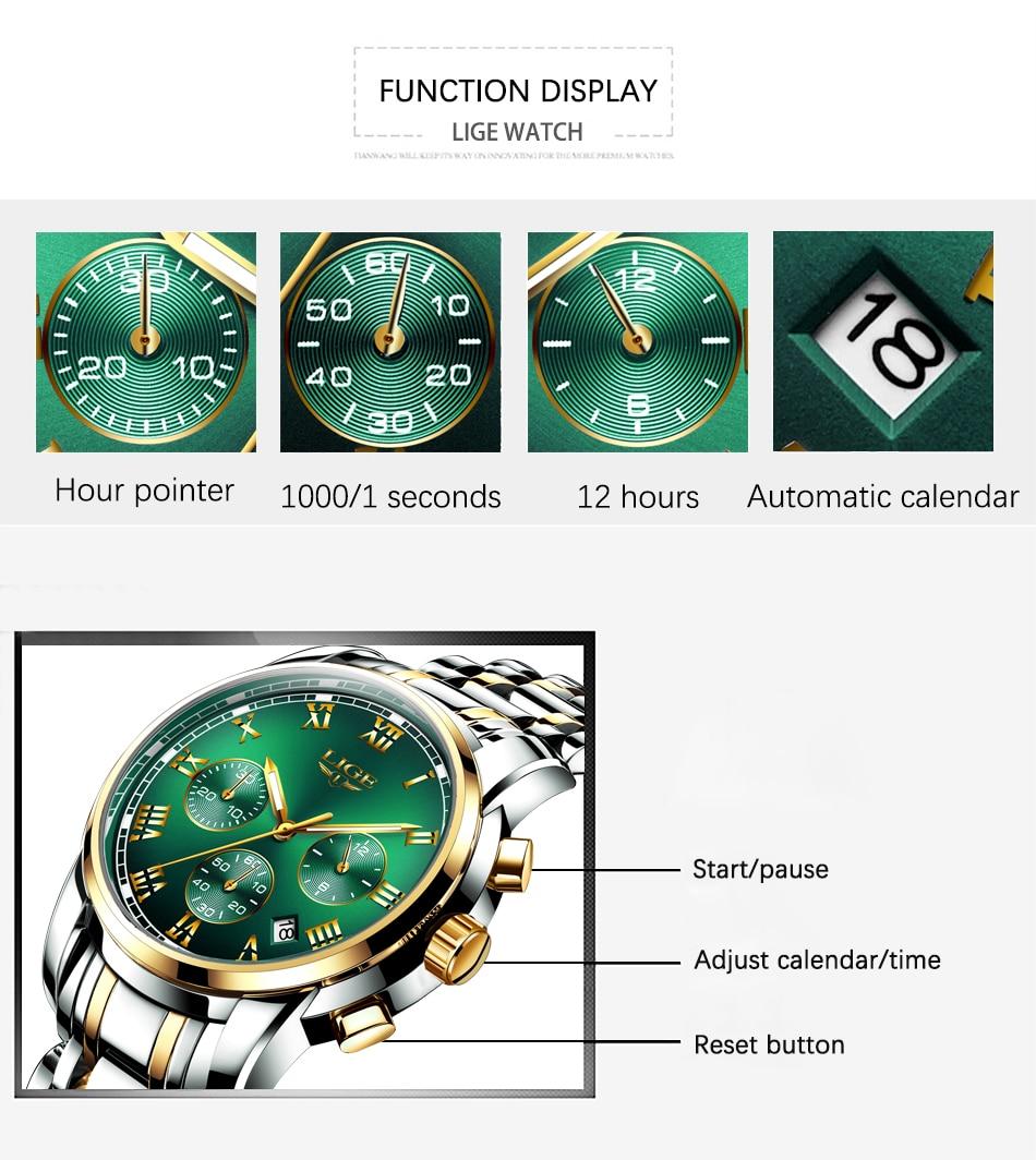 H74f90136870c473fa2f319ca604a7427F Watches Mens 2019 LIGE Top Brand Luxury Green Fashion Chronograph Male Sport Waterproof All Steel Quartz Clock Relogio Masculino