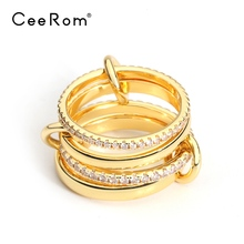 CeeRom Newest Design 4-Rings Kit White Crystal Gold Color Midi Knuckle Finger Rings For Women Fashion Jewelry Anillos newest viennois fashion jewelry gun color geometric finger rings for woman rhinestone and crystal party accessories