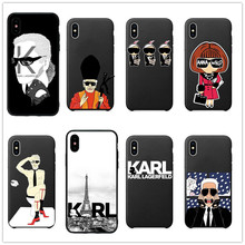 Karl Lagerfeld Soft Silicone TPU Phone Cases For iPhone 8 8Plus 7 7Plus 6 6S Plus X XS MAX XR 10 5S SE Coque Shell Back Cover