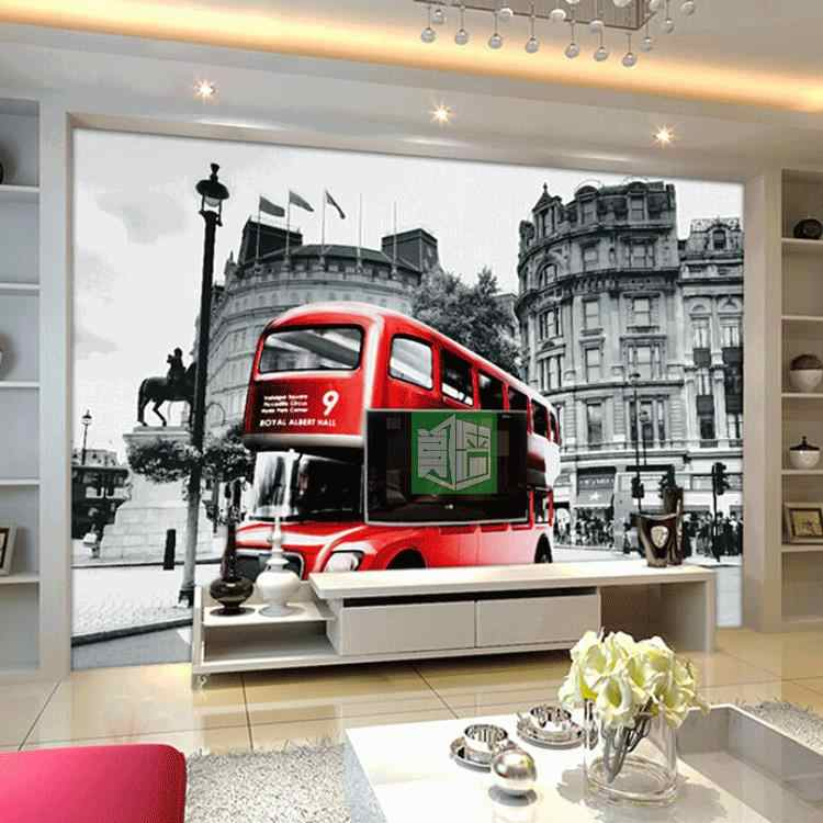 Custom 3d Photo Wall Paper European Retro Style Red Theme Wallpaper London Street Tram Creative Landscape Wallpaper Mural
