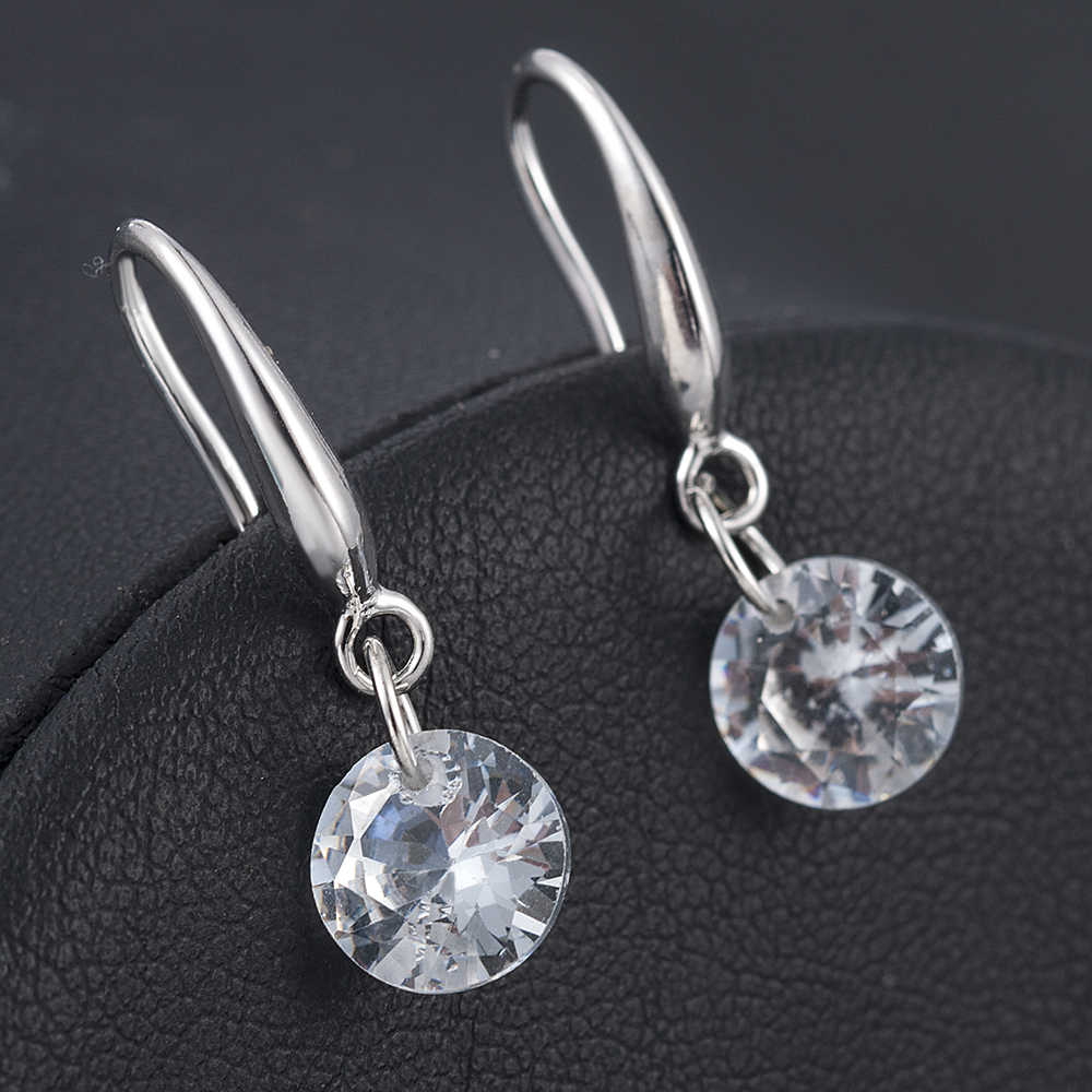 Korean Fashion Jewelry Crystal Hook Dangle Earrings Elegant Women Statement Drop Earrings
