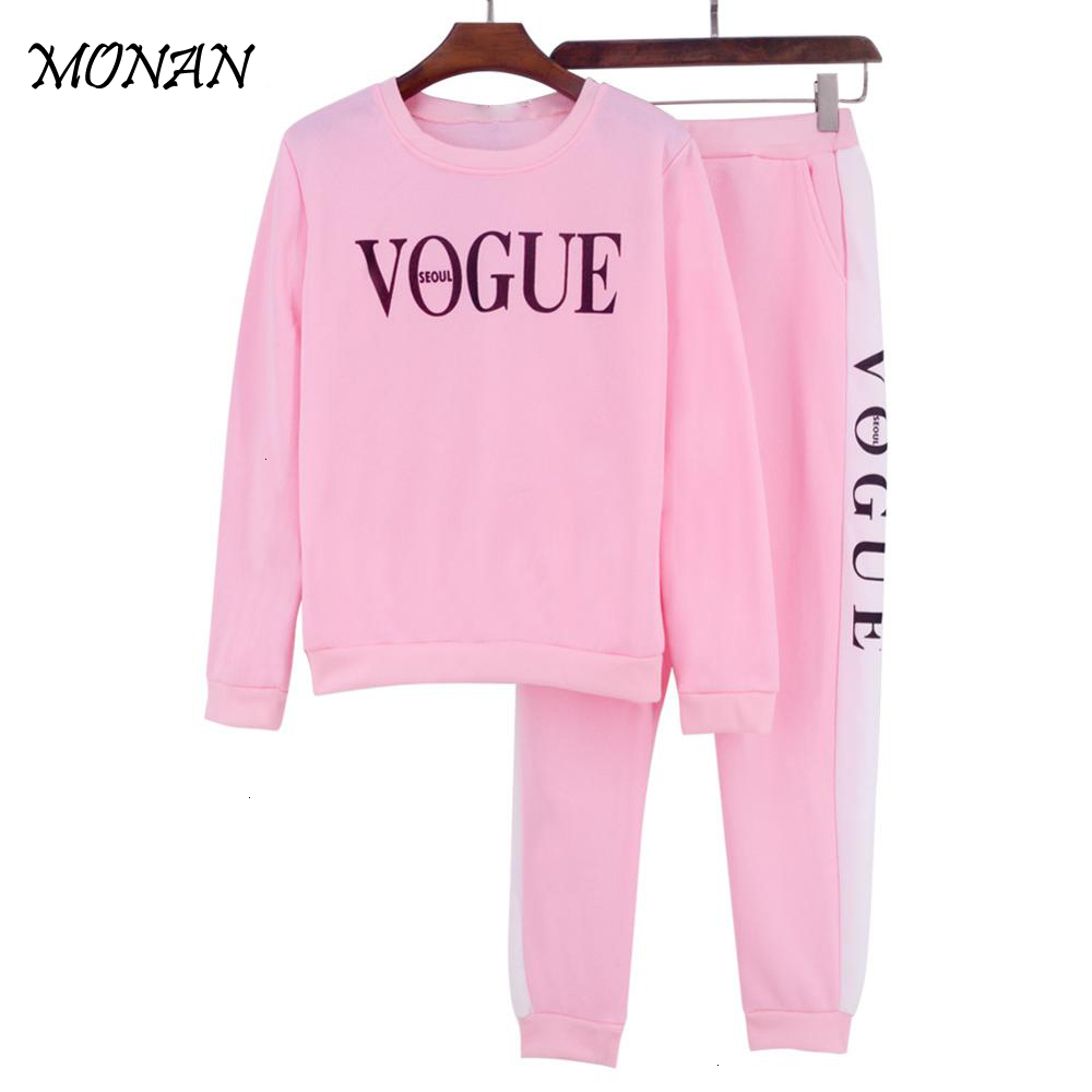 2 Piece Set Women Casual Crop Hoodies Tracksuit Set Autumn Winter Women's Suit Letter Printed Tracksuit Sweatshirt Top Long Pant