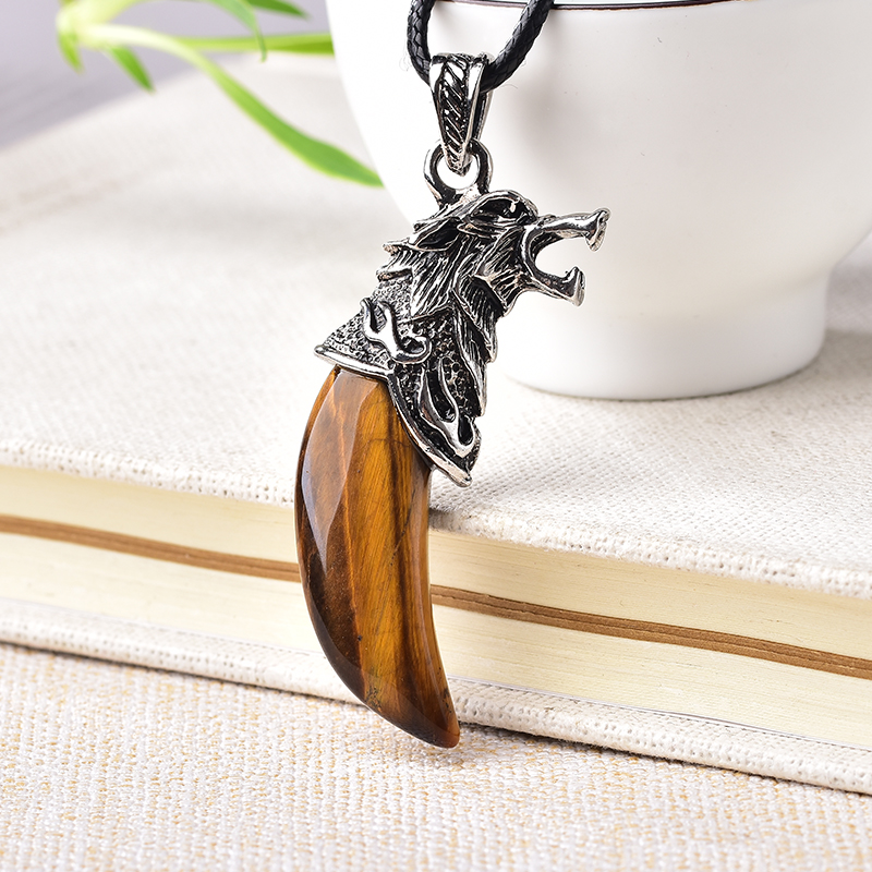 1PC Fashion Natural Crystal Wolf Tooth Pendant Ornament Natural Quartz Crystal Mineral Amulet For Couple Jewelry Christmas Gift