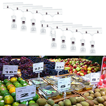Behogar 10PCS 360 Degree Rotatable Double-head Transparent Merchandise Price Display Sign Clip Holder for Retail Stores Mall