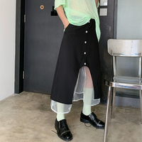 TVVOVVIN New 2019 Summer Spring Japan Korea Style Empire Waist Button Patchwork Mid calf Lace Women A line skirt Tide F288